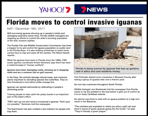 Florida moves to control invasive iguanas